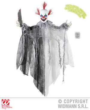 Animated Slashing Killer Clown Decoration Halloween Fancy Dress Party Prop 60Cm