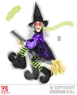 Animated Witch On Broom Decoration Halloween Fancy Dress Party Prop 70Cm