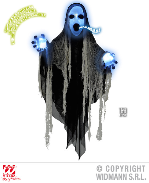 Animated Light Up Sinister Reaper Decoration Halloween Fancy Dress Prop 153Cm