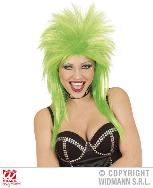 Ladies Womens Green Rock Star Wig Glam Rocker Punk Fancy Dress Accessory