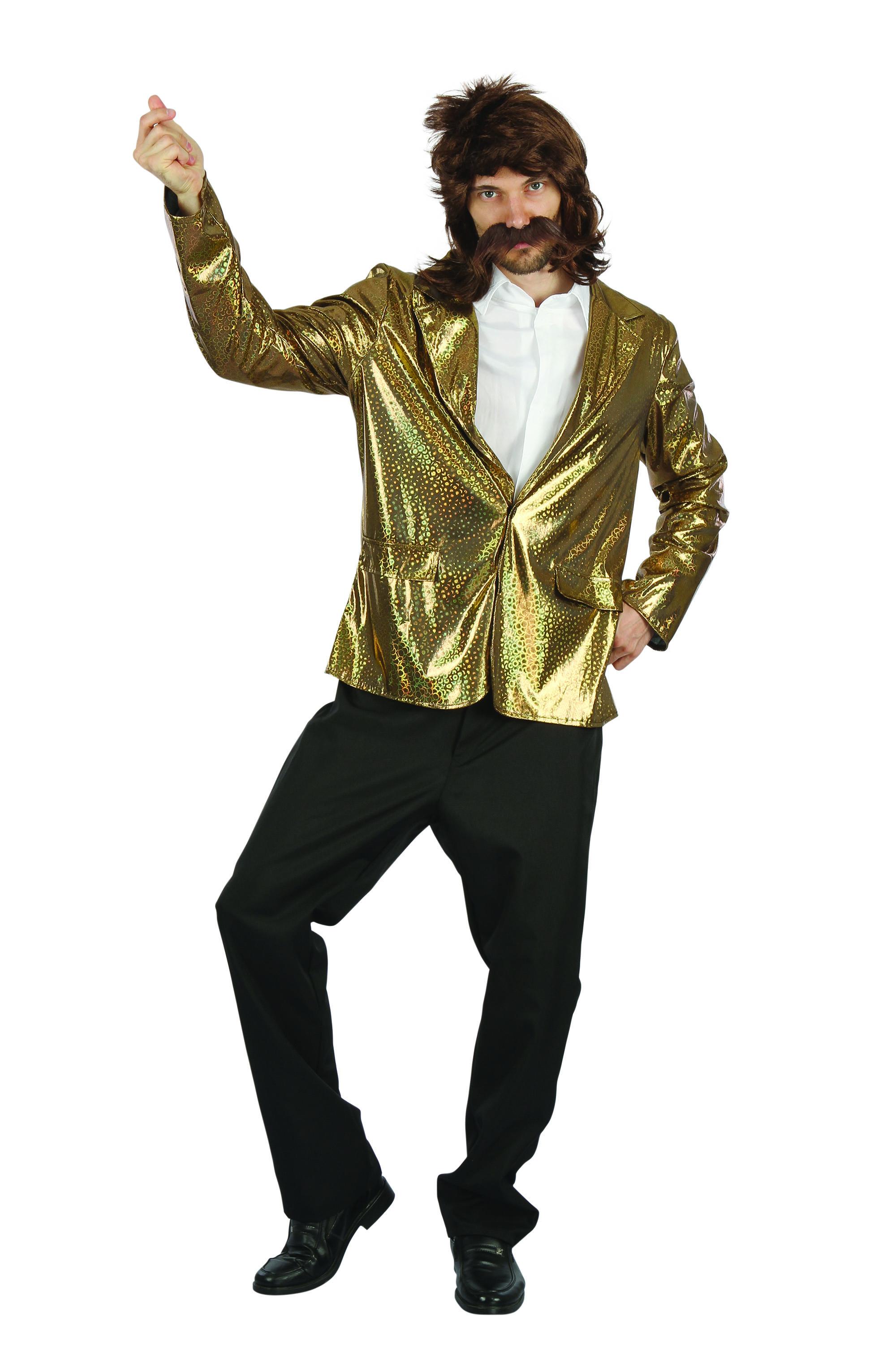 Details about Mens Gold Quiz Show Host Jacket Fancy Dress Costume Outfit  Prop Adult