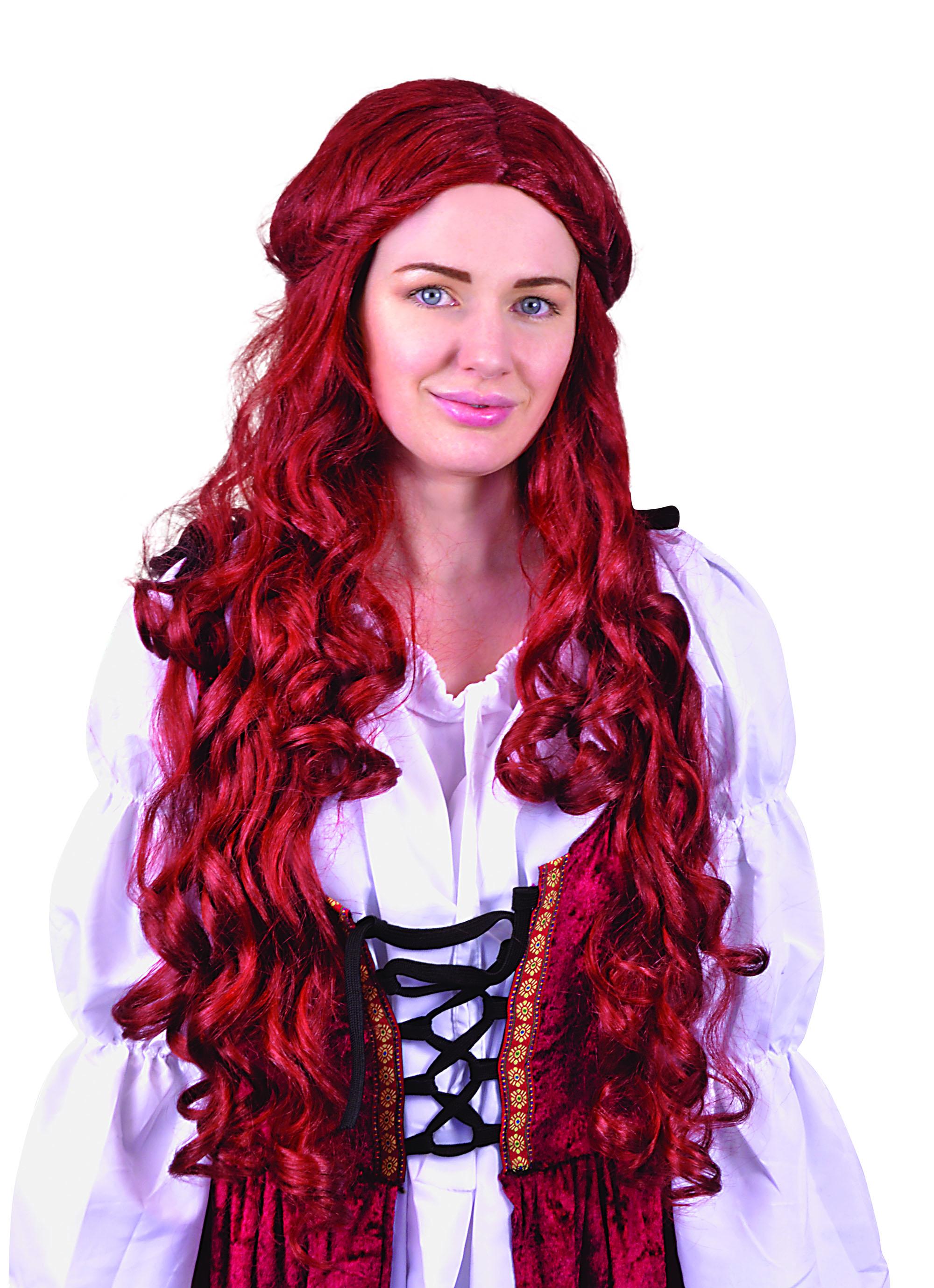Femmes Princesse Médiévale Perruque Brown Tudor Renaissance long accessoire robe fantaisie