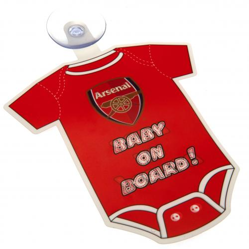 Arsenal FC Official Crested Baby On Board Car Sign With Rubber Suction Pad Gift