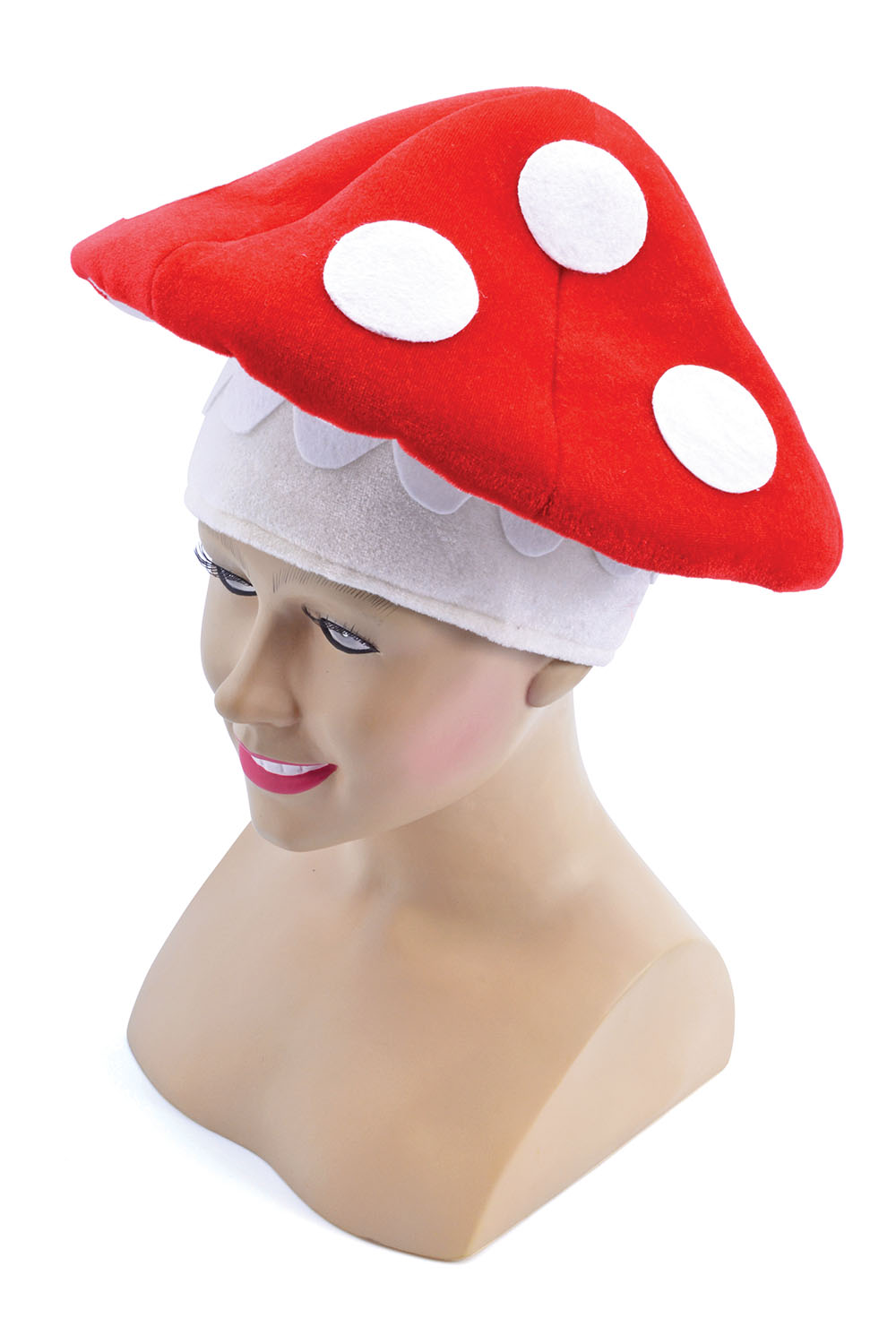 Red & White Mario Toad Hat Toadette Fancy Dress Costume
