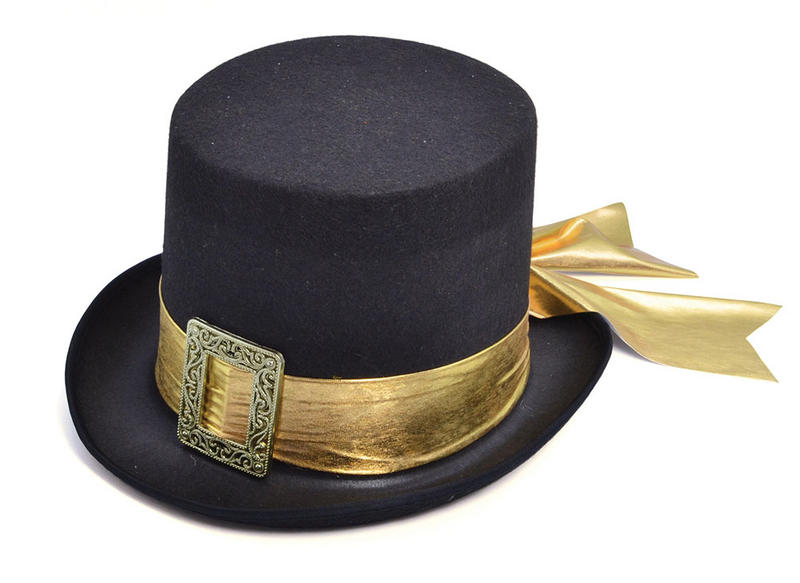 Black Top Hat & Gold Belt Detail Victorian Gent Vampire Fancy Dress Accessory