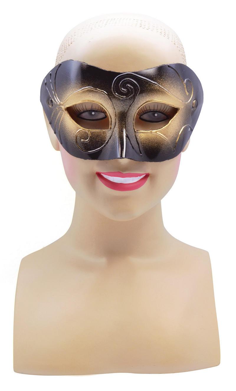Male Gold & Black Half Face Masquerade Ball Mask Halloween Fancy Dress