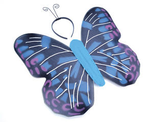 Blue Butterfly Fancy Dress Costume - Wings & Headband