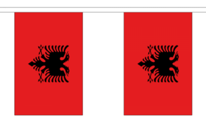 "Albania Bunting 3m Metre Length With 10 Flags 9""x6"" 100% Woven Polyester"