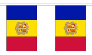 """Andorra Bunting 3m Metre Length With 10 Flags 9""""x6"""" 100% Woven Polyester"""