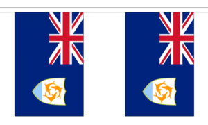 """Anguilla Bunting 3m Metre Length With 10 Flags 9""""x6"""" 100% Woven Polyester"""