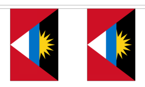 "Antigua & Barbuda Bunting 3m Metre Length With 10 Flags 9""x6"" 100% Caribbean"