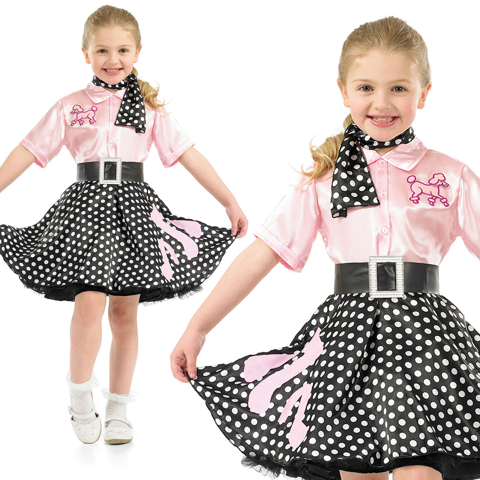 childrens pink polka dot rock n roll fancy dress costume 50s outfit 4 12 yrs ebay. Black Bedroom Furniture Sets. Home Design Ideas