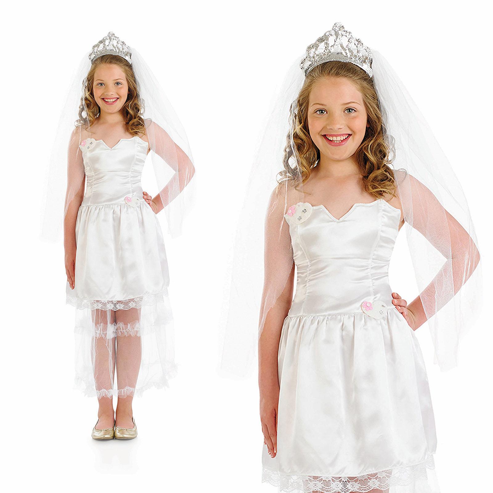 Childrens-Bride-Fancy-Dress-Costume-Wedding-Dress-Bridal-  sc 1 st  eBay & Childrens Bride Fancy Dress Costume Wedding Dress Bridal Kids Outfit ...