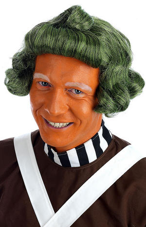 Adult Green Factory Worker Wig Umpa Lumpa Willy Wonka Fancy Dress Accessory