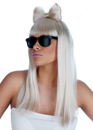 Adult Pop Diva Wig And Glasses Lady Gaga Popstar Fancy Dress Costume Accessory
