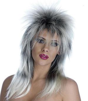 Adult Silver & Black Glam Rock Wig Tina Turner Biker Fancy Dress Accessory