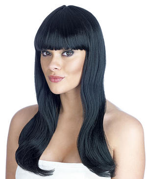 Adult Black Fringe Wig Popstar Katy Perry Gothic Fancy Dress Costume Accessory