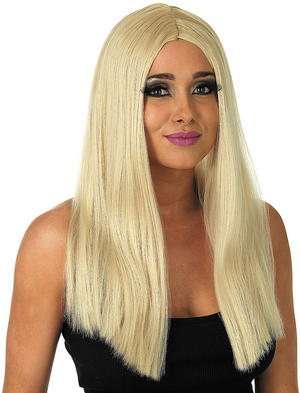 Adult Long Blonde Straight Wig Barbie Girl Popstar Fancy Dress Costume Accessory