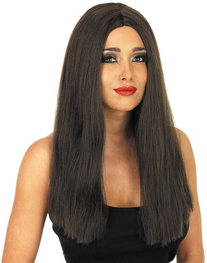 Adult Long Brown Straight Wig Model Popstar Fancy Dress Costume Accessory
