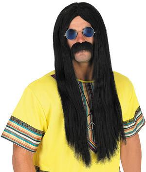 Adult Black Hippie Wig Ozzy Osbourne 70S Groovy Fancy Dress Acostume Accessory
