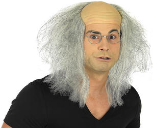 Adult Grey Mad Professor Wig Old Man Halloween Fancy Dress Costume Accessory
