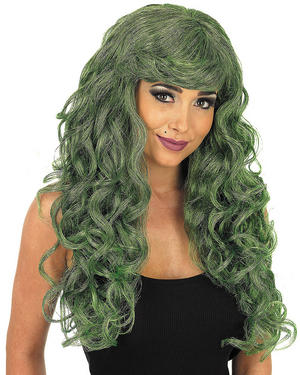 Adult Green Curly Temptress Wig Wicked Witch Halloween Fancy Dress Accessory