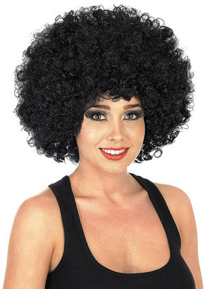 Adult Black Afro Wig 1970S Disco Diva Fancy Dress Costume Accessory
