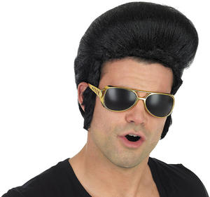 Adult Black Pop King Quiff Wig Elvis Presley Rock N Roll Fancy Dress Accessory