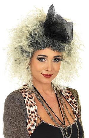 Adult 80S Blonde Black Pop Star Wig Madonna 1980S Fancy Dress Accessory