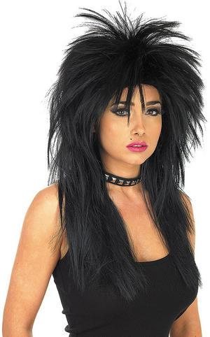 Adult Black Glam Rock Wig Gothic Biker Fancy Dress Costume Accessory
