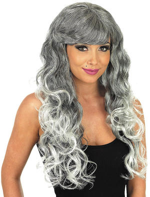 Adult Grey Temptress Wig Wicked Witch Halloween Fancy Dress Costume Accessory