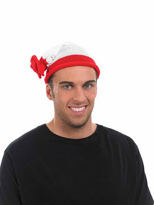Adult Red & White Stripe Bobble Hat Fancy Dress Costume Accessory