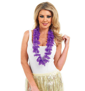 Purple Petal Flower Necklace Lei Garland Hawaii Hula Girl Hawaiian Fancy Dress