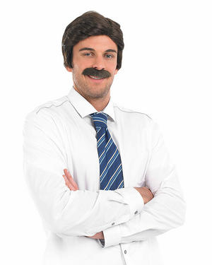 Adult Brown Anchor Man Wig & Tash Ron Burgundy Fancy Dress Costume Accessory