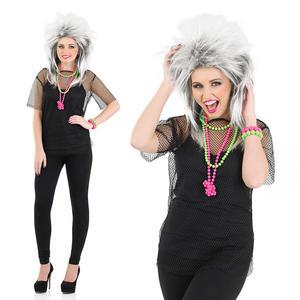 Ladies Black Mesh Top Fancy Dress Costume 80S Retro Madonna Punk Outfit