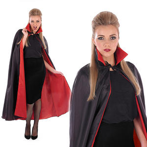 Adult Black Vampire Cape With Red Lining Fancy Dress Costume Halloween Outfit