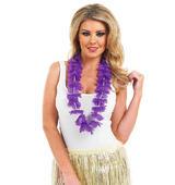 Purple Petal Flower Necklace Lei Garland Hawaii Hula Girl Hawaiian Fancy Dress