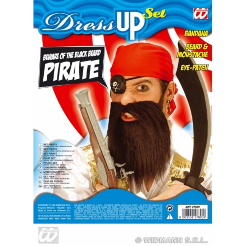 Pirate Fancy Dress Costume Kit Set - Scarf - Eye Patch - Moustache