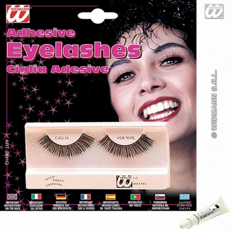 Ladies Long Black Fake Eye Lashes Including Glue