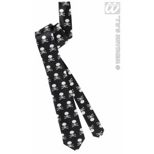 Black & Skull Satin Neck Tie Necktie Halloween Fancy Dress Costume Accessory