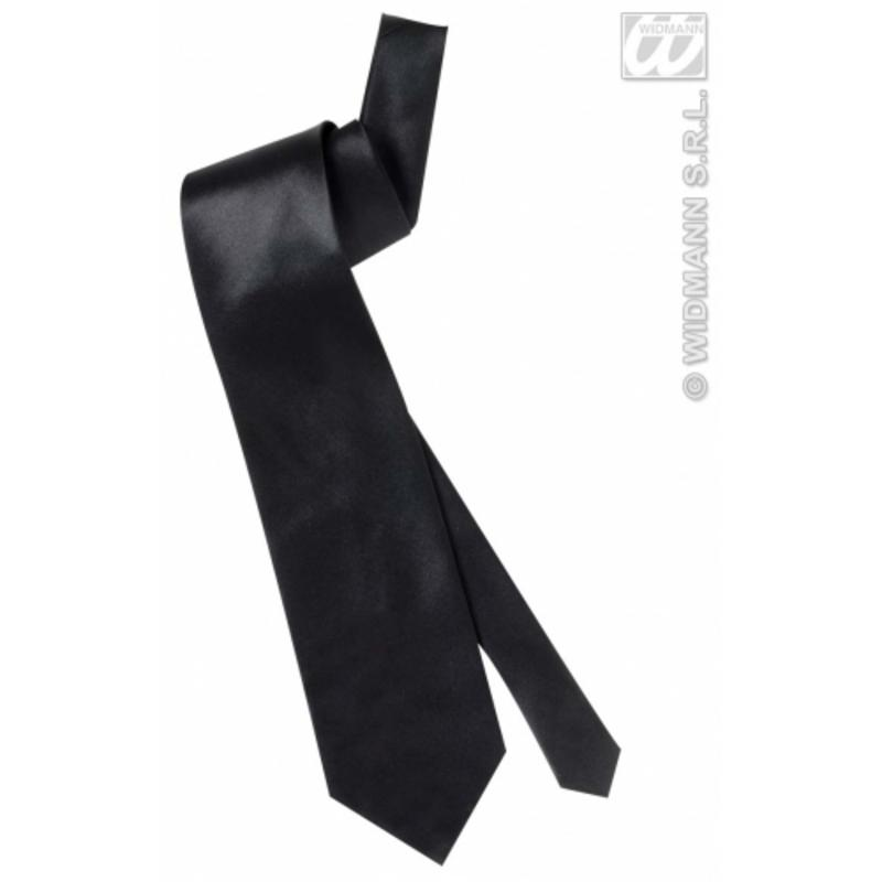 Black Satin Neck Tie James Bond Fancy Dress Accessory Prop