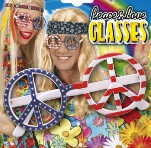 American Hippy Peace & Love Fancy Dress Glasses Sunglasses USA Hippie Spes