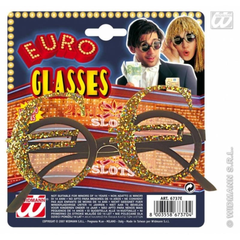 Gold Euro Currency Glasses Sunglasses Eurovision Song Contest Fancy Dress Prop