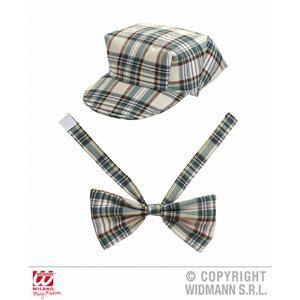 Beige Tartan Hat Cap & Bow Tie Fancy Dress English Gentleman Kit Set