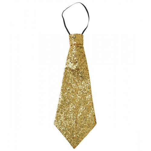 Large Gold Lurex Jumbo Tie On Elastic Fancy Dress Costume Accessory Prop
