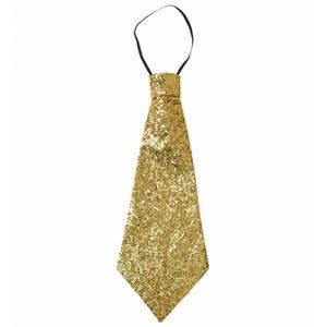 Large Gold Lurex Jumbo Tie On Elastic Fancy Dress Costume Accessory Prop
