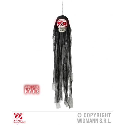 Hooded Wall Skull With Flashing Eyes Halloween Fancy Dress Decoration - 90cm