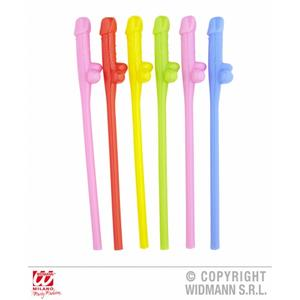 Coloured  Penis Drinking Straws Willy Cock Hen Night Fancy Dress Pack Of 6