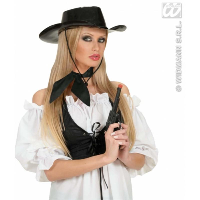 Ladies Black Satin Neck Tie Or Sash - Cowgir Cow Girl Fancy Dress Prop