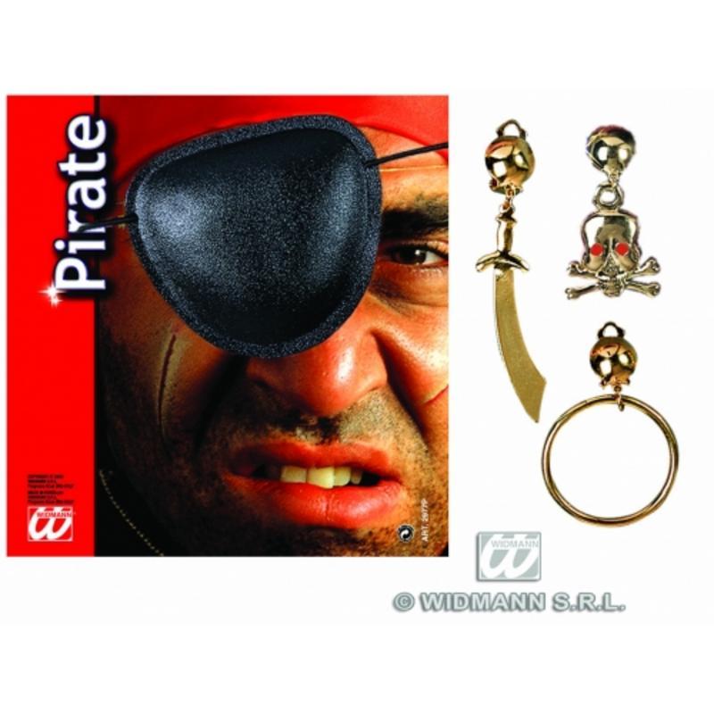 Unisex Pirate Fancy Dress Costume Set Kit - Eyepatch & Earrings